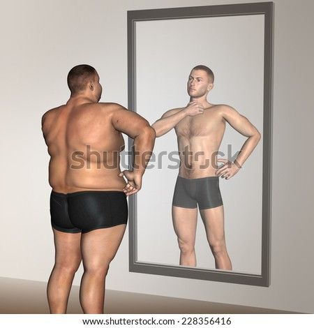 Concept or conceptual 3D fat overweight vs slim fit with muscles young man on diet reflecting in mirror, metaphor weight loss, body, fitness, fatness, obesity, health, healthy, male, dieting or shape - stock photo