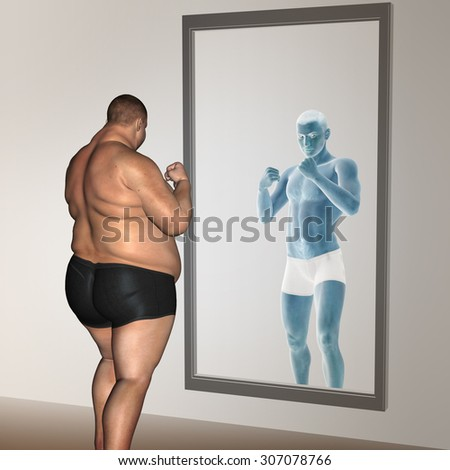 Concept or conceptual 3D fat overweight vs slim fit with muscles young man on diet reflecting in a mirror metaphor weight loss, body, fitness, fatness, obesity, health, healthy, male, dieting or shape - stock photo