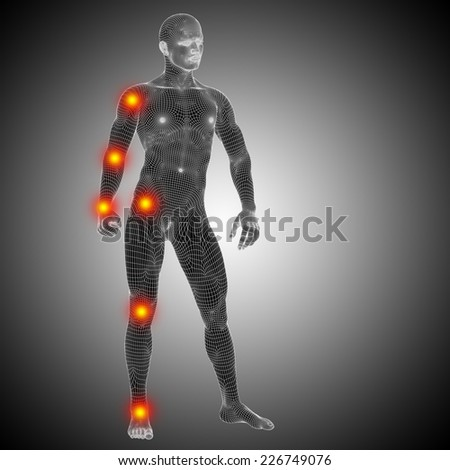 Concept or conceptual 3D human anatomy mesh or wireframe body with pain, ache over black white background, metaphor to health, medicine, medical, biology, osteoporosis, arthritis, joint, inflammation - stock photo