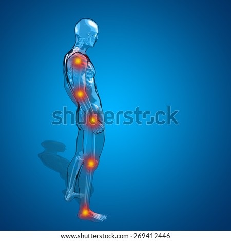 Concept or conceptual 3D human man or male skeleton pain or ache anatomy transparent body, blue background, metaphor to medical, health, science, rheumatism, inflamation, injury, osteoporosis, disease - stock photo