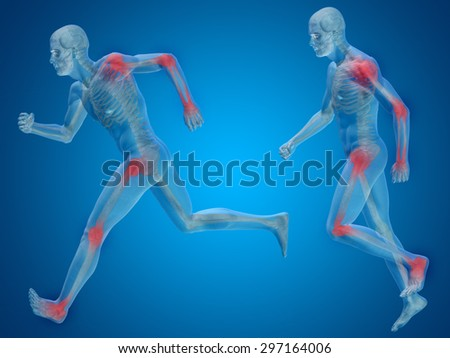 Concept or conceptual 3D human man or male skeleton pain or ache anatomy transparent body, blue background for medical, fitness, medicine, bone, care, hurt, osteoporosis, painful, arthritis or body - stock photo
