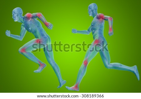 Concept or conceptual 3D human man or male skeleton pain or ache anatomy transparent body, green background for medical, fitness, medicine, bone, care, hurt, osteoporosis, painful, arthritis or body