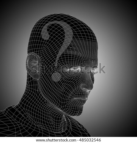 Concept or conceptual 3D illustration wireframe human male man question ask head on gray background for technology, cyborg, digital, girl, virtual, avatar, model, science, fiction or future