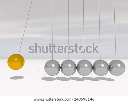 Concept or conceptual 3D metal silver and gold creative sphere Newton cradle pendulum over a sky background metaphor to balance, action, success, business, science, leadership,energy, team or teamwork