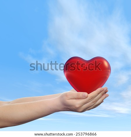 Concept or conceptual 3D red abstract heart sign or symbol held in hands by woman or child over nice blue cloud sky background, metaphor to love, holiday, wedding, care, valentine, protection romantic - stock photo