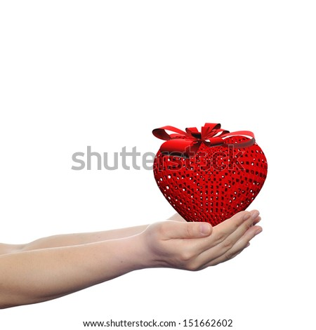 Concept or conceptual 3D red canvas heart sign or symbol with a ribbon held in hands by a woman or child isolated over a white background as a metaphor for love,holiday,gift,care,valentine or romantic