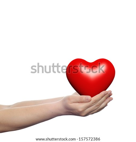 Concept or conceptual 3D red glass heart sign or symbol held in hands by a woman or child isolated over a white background as a metaphor for love,holiday,wedding,care,valentine,protection or romantic - stock photo