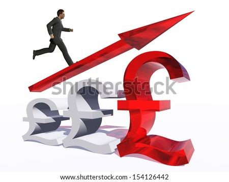 Concept or conceptual 3D red glass pound symbol with arrow pointing up isolated on white background with businessman as a metaphor for business,finance,money,growth,success,stock,currency or economy - stock photo