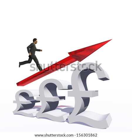Concept or conceptual 3D red glass pound symbol with arrow pointing up isolated on white background with businessman as a metaphor for business,finance,money,growth,success,stock,currency or economy