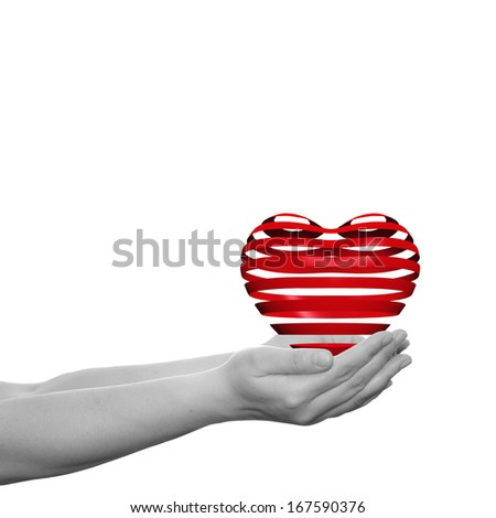 Concept or conceptual 3D red heart sign or symbol held in hands by a woman or child isolated over a white background as a metaphor for love,holiday,wedding,care,valenti - stock photo