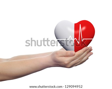 Concept or conceptual 3D red human heart sign or symbol held in human man or woman hands isolated on white background, metaphor to health,care,medicine,protect,life,medical,pulse,healthcare cardiology