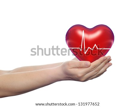 Concept or conceptual 3D red human heart sign or symbol held in human man or woman hands isolated on white background, metaphor to health,care,medicine,protect,life,medical,pulse,healthcare cardiology - stock photo