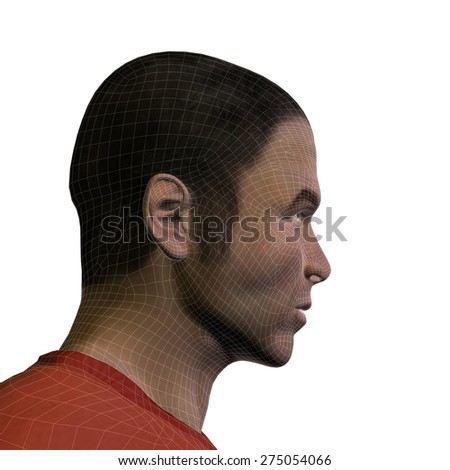 Concept or conceptual 3D wireframe young human male or man face or head isolated on background - stock photo