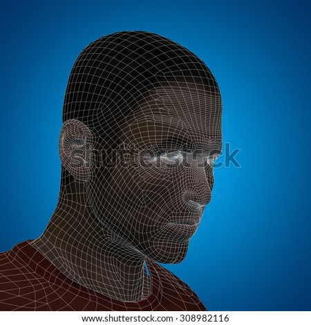 Concept or conceptual 3D wireframe young human male or man face or head on blue background for technology, cyborg, digital, virtual, avatar, model, science, fiction, future, mesh or abstract