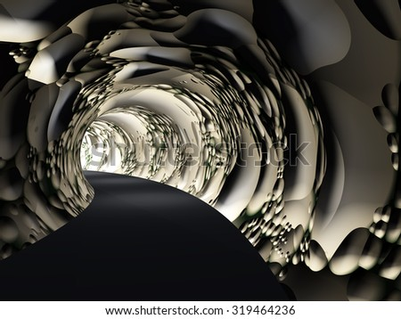 Concept or conceptual dark abstract road tunnel with bright light at the end background metaphor to hope, freedom, exit, life, faith, motion, speed, dream, success, vision, future, fear or salvation