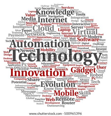 Concept or conceptual digital smart technology circle word cloud isolated on background metaphor to information, innovation, internet, future, development, research, evolution or intelligence