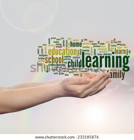 Concept or conceptual education abstract word cloud, human man hand, rainbow sky background, metaphor to child, family, school, life, learn, knowledge, home, study, teach, achievement, childhood, teen - stock photo