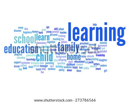 Concept or conceptual education abstract word cloud, white background, metaphor to child, family, school, life, learn, knowledge, home, study, teach, educational, achievement, childhood or teen - stock photo