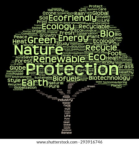 Concept or conceptual green text word cloud as tree isolated on black background, metaphor to nature, ecology, energy, natural, life, world, global, protect, environmental, biofuel or recycling - stock photo