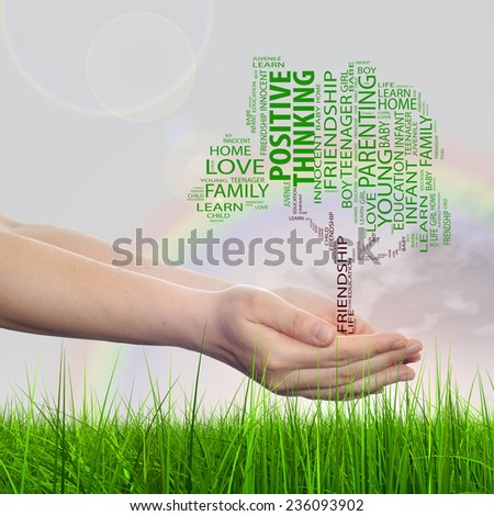 Concept or conceptual green text word cloud tagcloud as tree on man or woman hand on rainbow sky background and grass, metaphor to child, family, education, home, love and school learn achievement - stock photo
