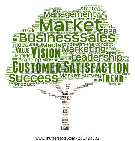 Concept or conceptual green tree word cloud or wordcloud on white background as metaphor to business, trend, media, focus, market, value, product, advertising, leadership customer or corporate - stock photo