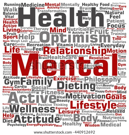 Concept or conceptual mental health or positive thinking square word cloud isolated on background, metaphor to optimism, psychology, mind, healthcare, thinking, attitude, balance or motivation - stock photo