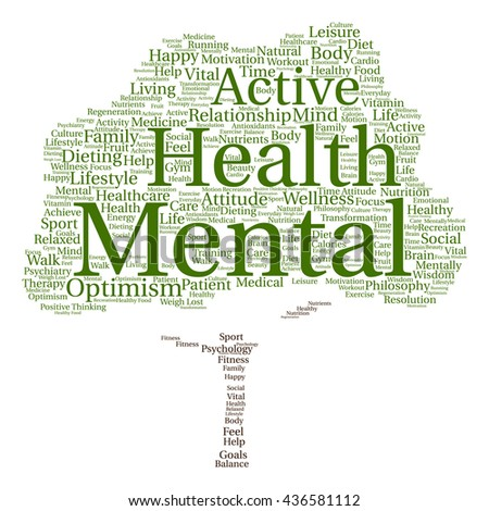 Concept or conceptual mental health or positive thinking tree word cloud isolated on background, metaphor to optimism, psychology, mind, healthcare, thinking, attitude, balnce or motivation - stock photo