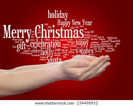 Concept or conceptual Merry Christmas holiday or Happy New Year winter abstract text in hands word cloud on red background, metaphor to celebration, Santa, festive, december, love, family, joy or home - stock photo