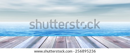 Concept or conceptual old wood or wooden deck on coast of exotic blue clear sea or ocean waves and sky vacation or tourism background, metaphor to travel, summer, tropical, relax, resort or lifestyle - stock photo