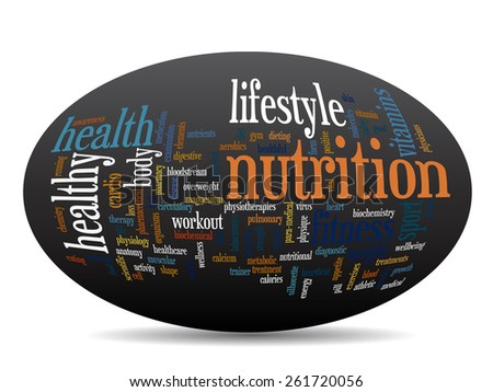 Concept or conceptual oval  abstract word cloud on black background as metaphor for health, nutrition, diet, wellness, body, energy, medical, fitness, medical, gym, medicine, sport, heart or science - stock photo
