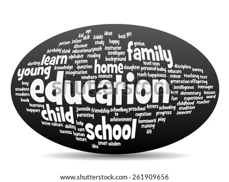 Concept or conceptual oval education abstract word cloud, black background, metaphor to child, family, school, life, learn, knowledge, home, study, teach, educational, achievement, childhood or teen - stock photo