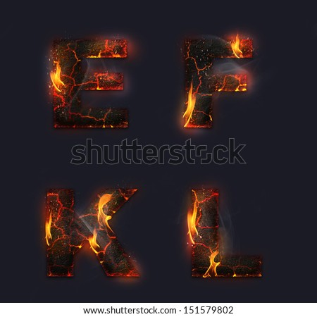Concept or conceptual red burning fire fonts isolated on dark background, ideal for holiday, vintage or industrial designs. It is a set,group or collection letters in red and orange flames  - stock photo