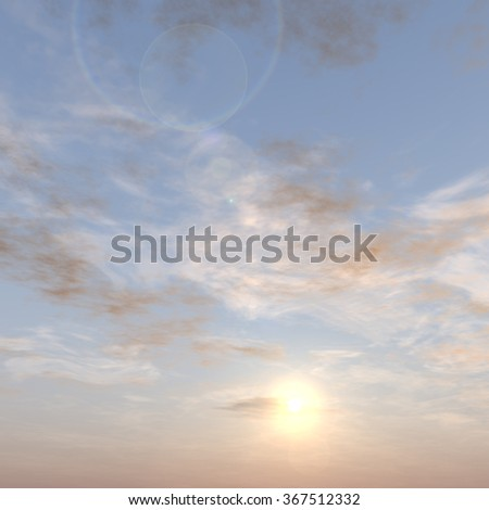 Concept or conceptual sunset or sunrise background with sun close to horizon, metaphor to nature, finish, sadness, romantic, dramatic, light, evening, morning, peace, atmosphere, weather or sunshine