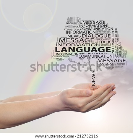 Concept or conceptual tree word cloud in man or woman hand on rainbow sky  background, metaphor to communication, speech, message, mail, relation, dialog, talk, contact, stair, climb, email, internet - stock photo