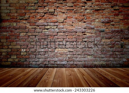 Concept or conceptual vintage or grungy brown background of natural wood or wooden old texture floor and brick wall as a retro pattern layout, metaphor to time, grunge, masonry, brickwork aged or rust - stock photo