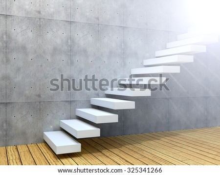 Concept or conceptual white stone or concrete stair or steps near a wall background with wood floor  metaphor to architecture, success, climb, business, staircase, rise, achievement, growth or future - stock photo