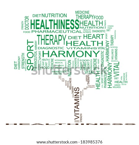 Concept or conceptual white text word cloud or tagcloud as a tree isolated on white background as metaphor for health, nutrition, diet, wellness, body, energy, medical, sport, heart or science