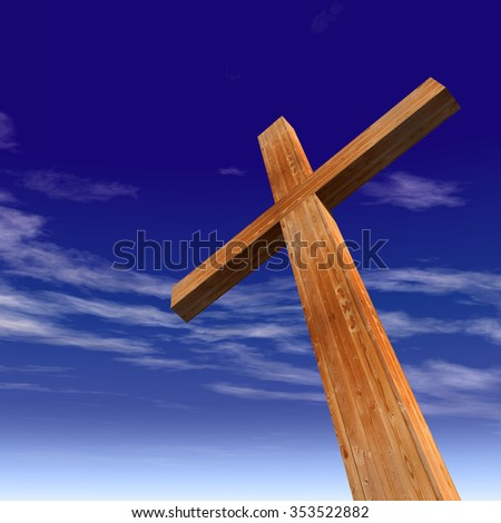 Concept or conceptual wood cross or religion symbol shape over a blue sky with clouds background metaphor to God, Christ, Christianity, religious, faith, holy, spiritual, Jesus, belief or resurection