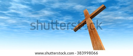 Concept or conceptual wood cross or religion symbol shape over a blue sky with clouds background, metaphor to God, Christ, Christianity, religious, faith, holy, spiritual, Jesus, belief or resurection