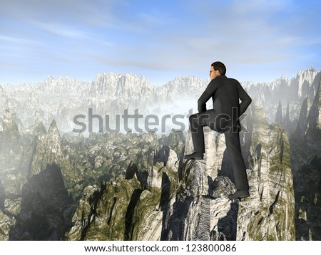 Concept or conceptual young 3D male businessman climbing high mountain,metaphor to business,business,business,job,freedom,successful,manager,achievement,confidence,rise,difficulty,strong or leadership - stock photo