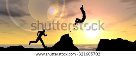 Concept or conceptual young 3D man, businessman silhouette jump happy from cliff over water gap sunset or sunrise sky background, metaphor to freedom, nature, mountain, success, free, joy, health risk - stock photo