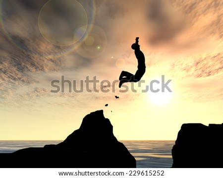 Concept or conceptual young man, businessman silhouette jump happy from cliff over water gap sunset or sunrise sky background, metaphor to freedom, nature, mountain, success, free, joy, health or risk - stock photo