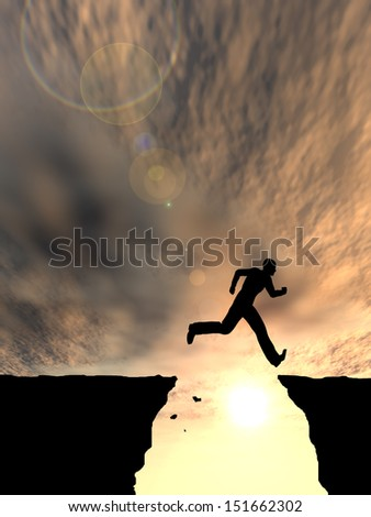 Concept or conceptual young man or businessman silhouette jump happy from cliff over  gap sunset or sunrise sky background as metaphor to freedom,nature,active,mountain,success,free,joy,health or risk