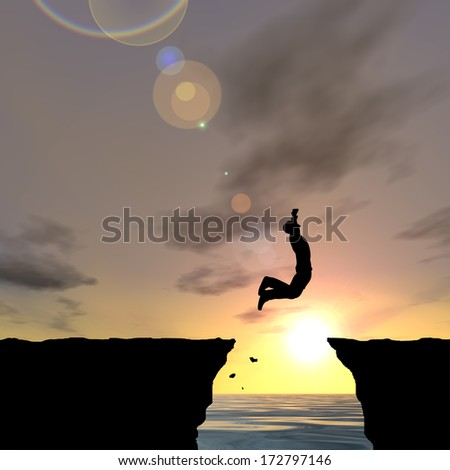 Concept or conceptual young man or businessman silhouette jump happy from cliff over water gap sunset or sunrise sky background as metaphor to freedom, nature,mountain, success,free,joy,health or risk - stock photo