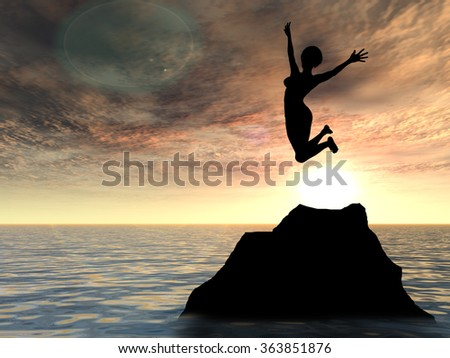 Concept or conceptual young woman or businesswoman silhouette jump happy on cliff over water sunset or sunrise sky background metaphor to freedom, nature, vacation, success, free, joy, health or risk - stock photo