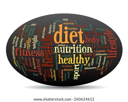 Concept oval or ellipse abstract word cloud on black background as metaphor for health, nutrition, diet, wellness, body, energy, medical, fitness, medical, gym, medicine, sport, heart or science - stock photo