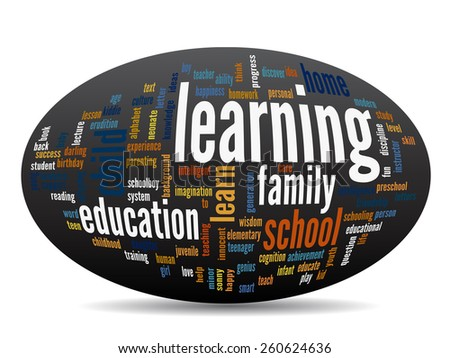 Concept oval or ellipse education abstract word cloud, black background, metaphor to child, family, school, life, learn, knowledge, home, study, teach, educational, achievement, childhood or teen - stock photo