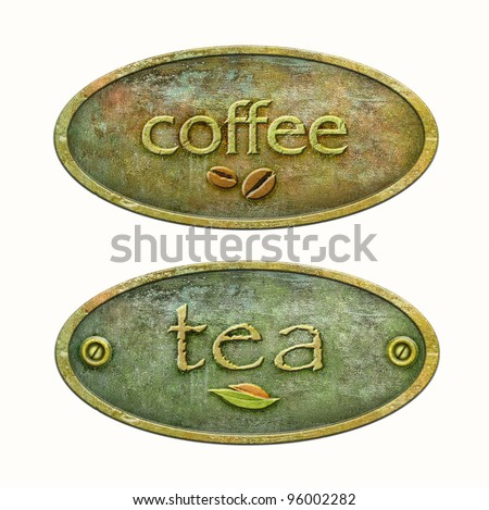 Concept packaging of tea and coffee. Coffee label for your design. Metal plate for the package of tea. - stock photo