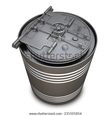 Concept. Paint Can with a Banking metallic door, vault isolated on white background. High resolution 3d - stock photo