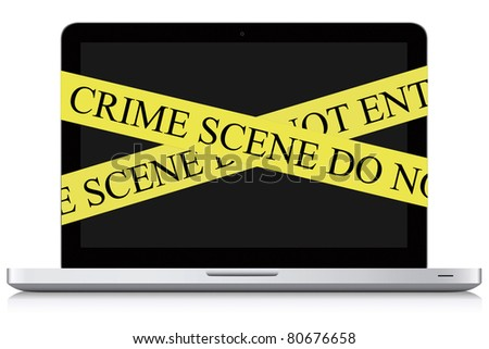 Concept photo about cyber-crime. Modern Laptop on white background. - stock photo